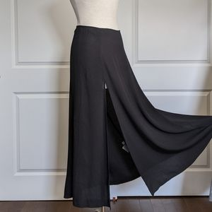Reformation Alva Front Slit Crepe Skirt Black 10